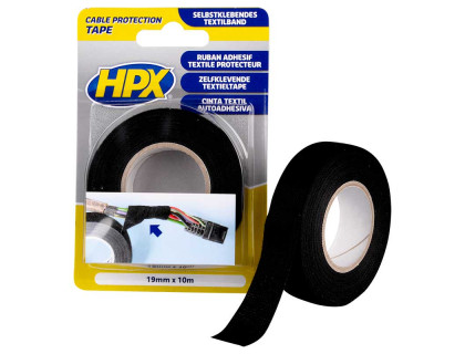 Лента тканевая одностороняя 19мм х 10м черная (блистер) HPX